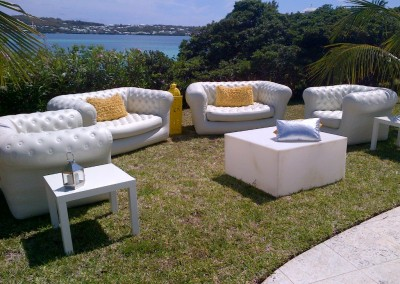Blo White Inflatable Tufted Sofa & Chairs